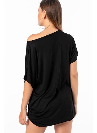 Emjey Önü Life Taşlı T-Shirt Siyah